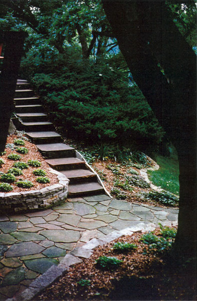 Natural Stone Walkway and Slate Steps