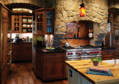 Modern/rustic style kitchen with stone accents