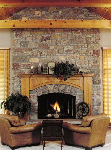 Fireplace with cut natural stone