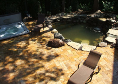 Patio Deck and Pond using large state type rocks